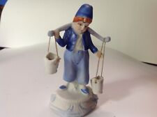 Vintage / Antique Hand Painted Little Boy Figurine In Blue With Buckets * Japan