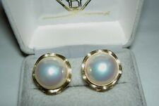 Vintage 14K Yellow Gold 13.5mm Cultured Mabe Pearl Omega Clip Post Earrings 7.5g