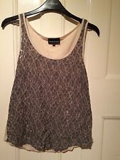 Women's Warehouse Grey Lace Pattern Vest Top UK Size 8