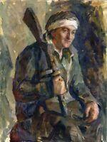 """Russischer Realist Expressionist Öl Leinwand """"Verwundeter Soldat"""" 80 x 60 cm"""
