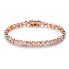 18K Rose Gold Plated White Fire Opal Crown Tennis Bracelet