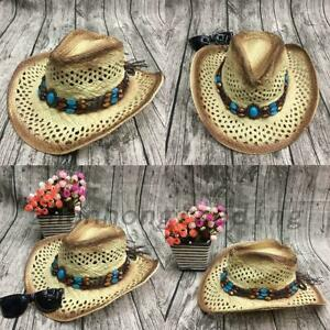 Cowboy Sunhat Straw Summer Sun Hat Handmade With Wired Brim Outdoor Beach Casual