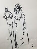 JOSE TRUJILLO Original Charcoal on Paper Sketch Drawing 18X24 Dress Model FIGURE
