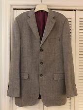 Boden Men's Herringbone Blazer Sport Coat Gray 3 Buttons Wool/Linen/Silk 42L