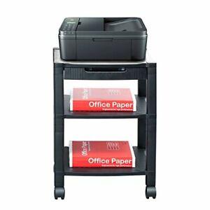 Mind Reader 3-Shelf Printer Cart Stand with Wheels Drawer Cord Management Black