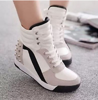 Womens lace up Sneakers Sports Comfort Rivet Hidden Wedge Heel High Top Shoes