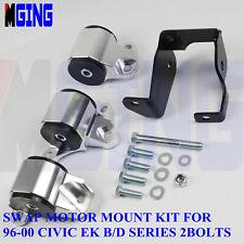 Motor Mount Swap EK For Honda Civic 96-00 D16 B16 B18 B20 Engine 2 Bolt Silver