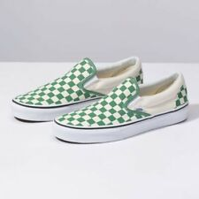 Men's Size 10 VANS Athletic Skate Shoes Green Classic Slip-On Checkerboard