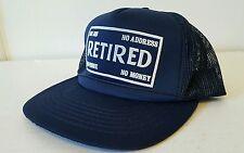Vintage retired snapback trucker mesh hat no job address phone money
