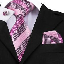 Classic Pink Paisley Mens Tie 100% Silk Necktie Set Wedding Jacquard Gift 2018