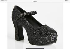 Funtasma platform black glitter Mary Jane Shoes goth punk emo sexy sparkle