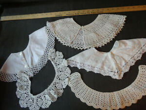 #3  LOT OF VINTAGE DETACHABLE WHITE DRESS COLLARS DICKEY CROCHETED & FABRIC