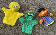 "VTG 70's Oscar The Grouch Big Bird Ernie Hand Puppets Sesame Street Applause 12"""