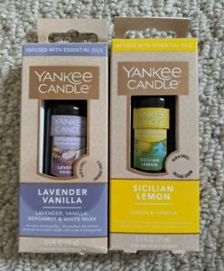Lot of 2 NEW Yankee Candle - Lavender Vanilla and Sicilian Lemon Diffuser Oil