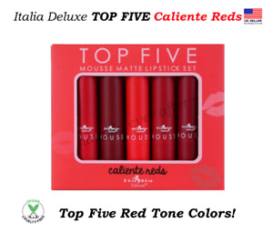 Italia TOP FIVE Mousse Matte Lipstick Set - Caliente Reds, Vegan Lipsticks!