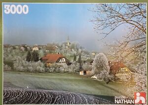 """Vintage Nathan """"Village in Frost"""" 3000 piece 86 x 120 cm picture puzzle 1985"""
