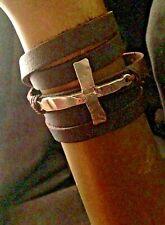 Sideways Cross Concho Wrap Bracelet Reworked Soft Brown Leather $145