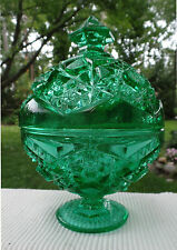 Vintage Emerald Green Pedestal Glass Candy Dish Bowl with Lid