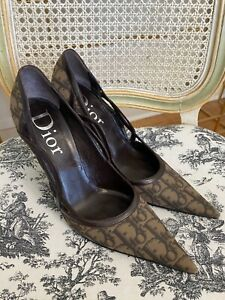 Christian Dior Women's Brown High Heels Size 39.5 Monogram Pointed Toe Amazing!