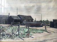 Otto Nielsen (1877-1959) Fischerhäuser at the Port with Netzen - Baltic Sea