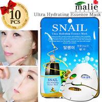 Facial Mask Sheet Snail 10pcs / Ultra Hydrating Essence Moisture Mask Sheet