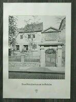 LPZ) Kunst Blatt Leipzig Gohlis Schillerhaus 1913 Hausansicht Eingang 24x34cm