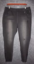 Lane Bryant Women's Charcoal Gray Wash Mid Rise Destructed Skinny Jeans 18