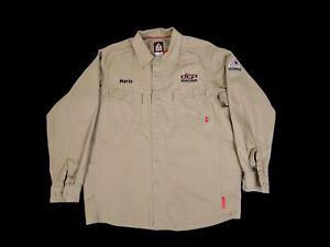 Bulwark FR IQ Series Tan Button Front Long Sleeve Work Shirt Men's L Reg.