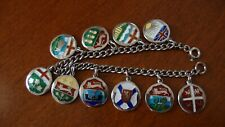 .925 STERLING SILVER CANADA COAT OF ARMS CHARMS BRACELET 29.5 GRAMS 7 INCHES