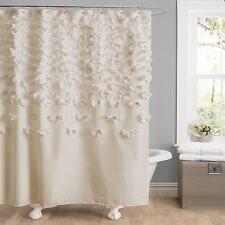 Lush Decor Lucia Shower Curtain 72-Inch by 72-Inch Ivory Shabby Chic Cottage NEW