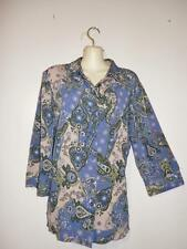 CJ Banks 1X Button Top Blue Paisley 3/4 Sleeve Polyester Casual  F052