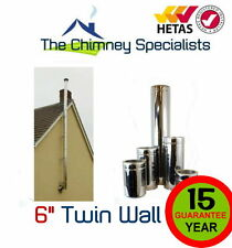Twin Wall Flue Pipe - 6 inch 150mm External Chimney System for Gable End