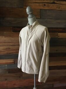 REI Womens Tan Brown White River Fleece Jacket Size M Coat Full Zip Hiking