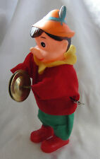Vintage Wind Up Clockwork Musical Pinocchio with Clashing Cymbals in box