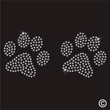 Perro Paws Rhinestone Diamante transferencia hierro en la revisión de Gema De Cristal parche Motif