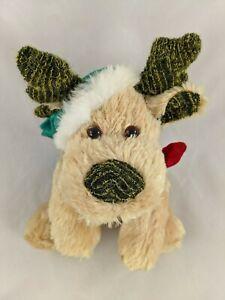 "Walmart Holiday Dog Plush Antlers Santa Cap 5"" Tall Stuffed Animal toy"