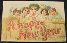 Cute Girls & Boy Looking Over Wood Fence Flowery Happy New Year postcard