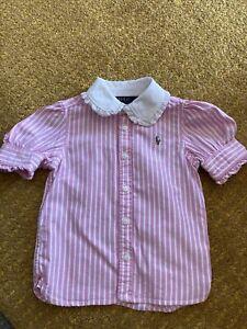 Girls Ralph Lauren Pink White Stripe Blouse Shirt 2 Y 100% Cotton Collar Detail