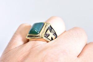 Gold  Plated Stainless Steel Genuine Green Chrysoprase 11.25 Men's Cross Ring
