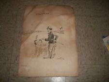 Pencil signed Abel Faivre Print 157/250 LA PAIX DE M. FORD Charlie Chaplin 17x12
