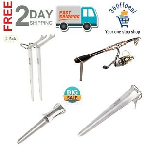 Fishing Rod Holder Stainless Steel Ground Support Stand Fish Pole - (2 Packs)