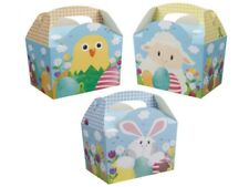 12 x  Easter Egg Hunt Bunny Chick Carry Meal Bag Boxes ~ Kids Party Food Box