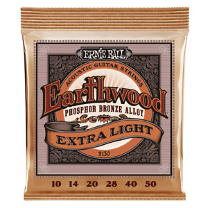 Ernie Ball Earthwood Phosphor Bronze Acoustic Strings 10-50 2150, Extra Light