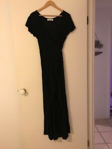 Auguste Ladies Black and Gold Flecked Wrap Maxi Dress Size 14