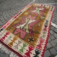 Turkish Antalya Barak Kilim Rug 3x5 Vintage Flatweave Wool Tribal Rectangle Rug
