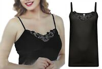 Ladies 8- 18 Black Cotton Vest Top Lace Trim Cami Tank Strappy Camisole Lot LICK