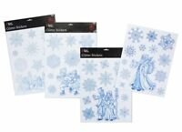 12 Christmas Glitter Window Stickers 1 Village Scene 11 Snowflakes (PM26)
