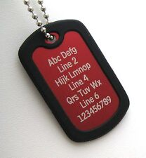 PERSONALIZED Dog Tag Necklace Horizontal Wording - RED with Black Silencer