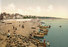 "PS40 Vintage 1890's Photochrom Photo The Beach At Exmouth Devon Print 17""x12"""