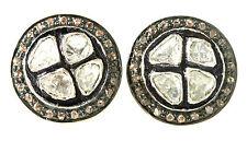 VICTORIAN STYLE ROSE CUT .65 TCW DIAMOND 22K OVER 925 EARRINGS